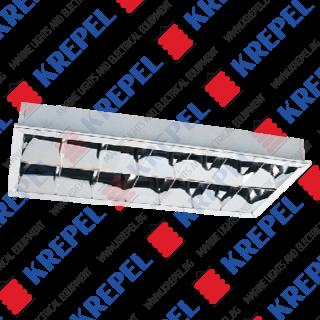 Stainless steel fluorescent grid light 2x20W